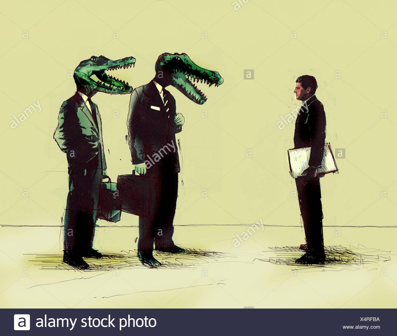 Empresario empresarios reunión con cabezas de cocodrilo Imagen De Stock