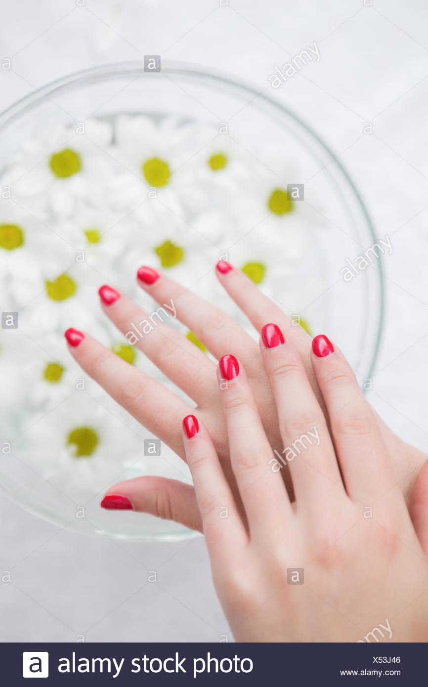 Acercamiento De Las Unas Pintadas De Rojo Y El Tazon De Flores En