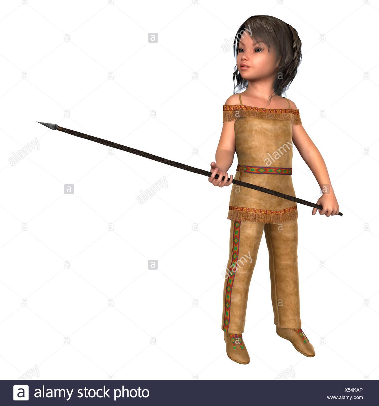 Digital 3D Render de una linda niña en un traje de indiana sosteniendo una  lanza aislado sobre fondo blanco. 4b2164152cf