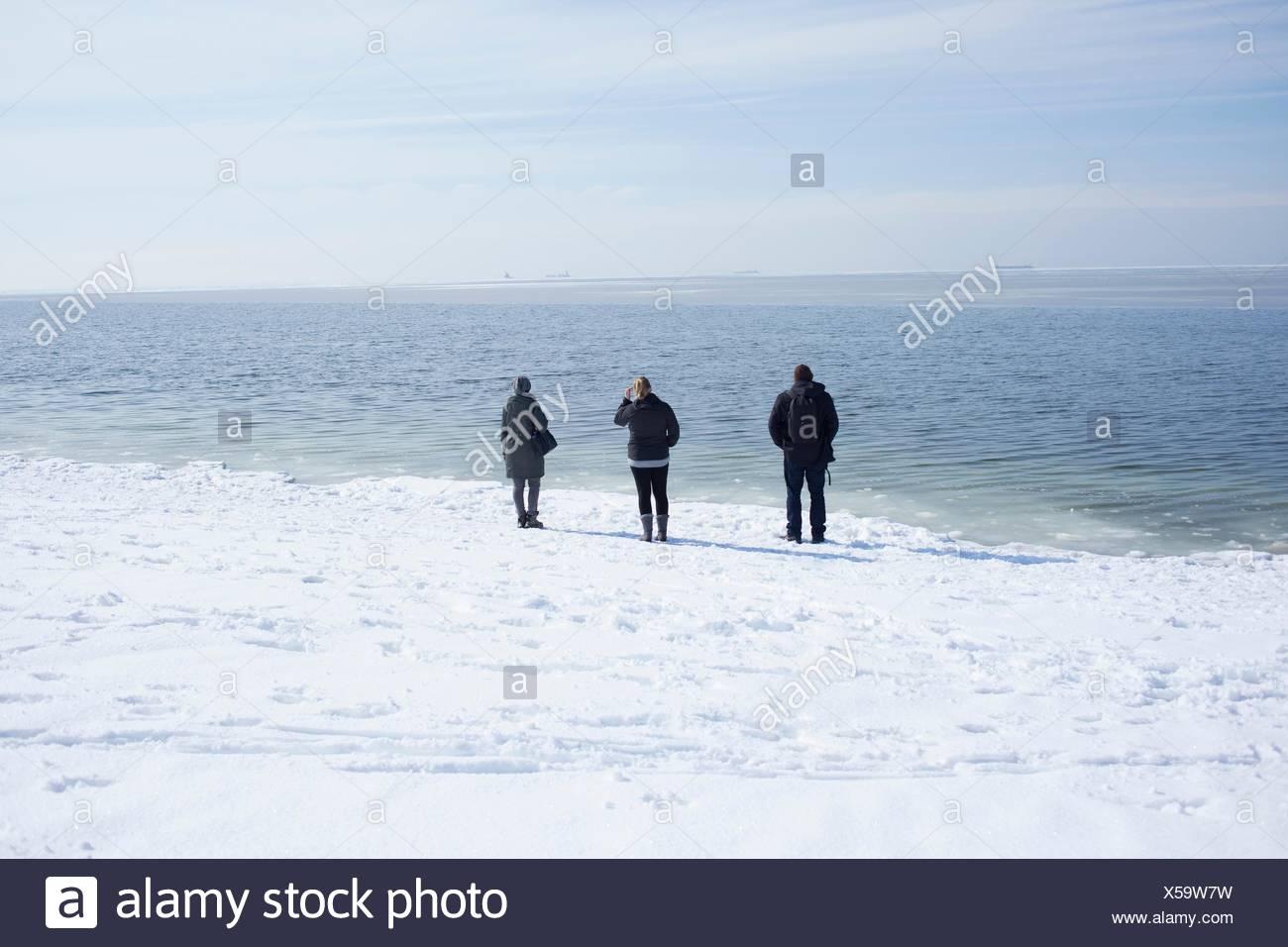 Tres adultos, mirando al mar, Fairfield, Connecticut, EE.UU. Imagen De Stock