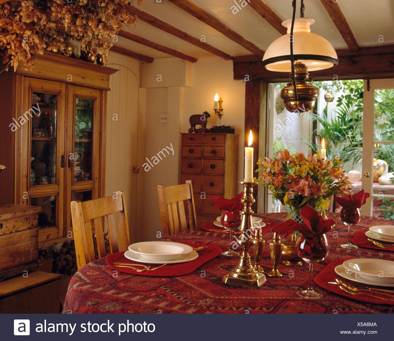 vajilla Lámpara con de de sobre victoriana latón la mesa R5A34jL