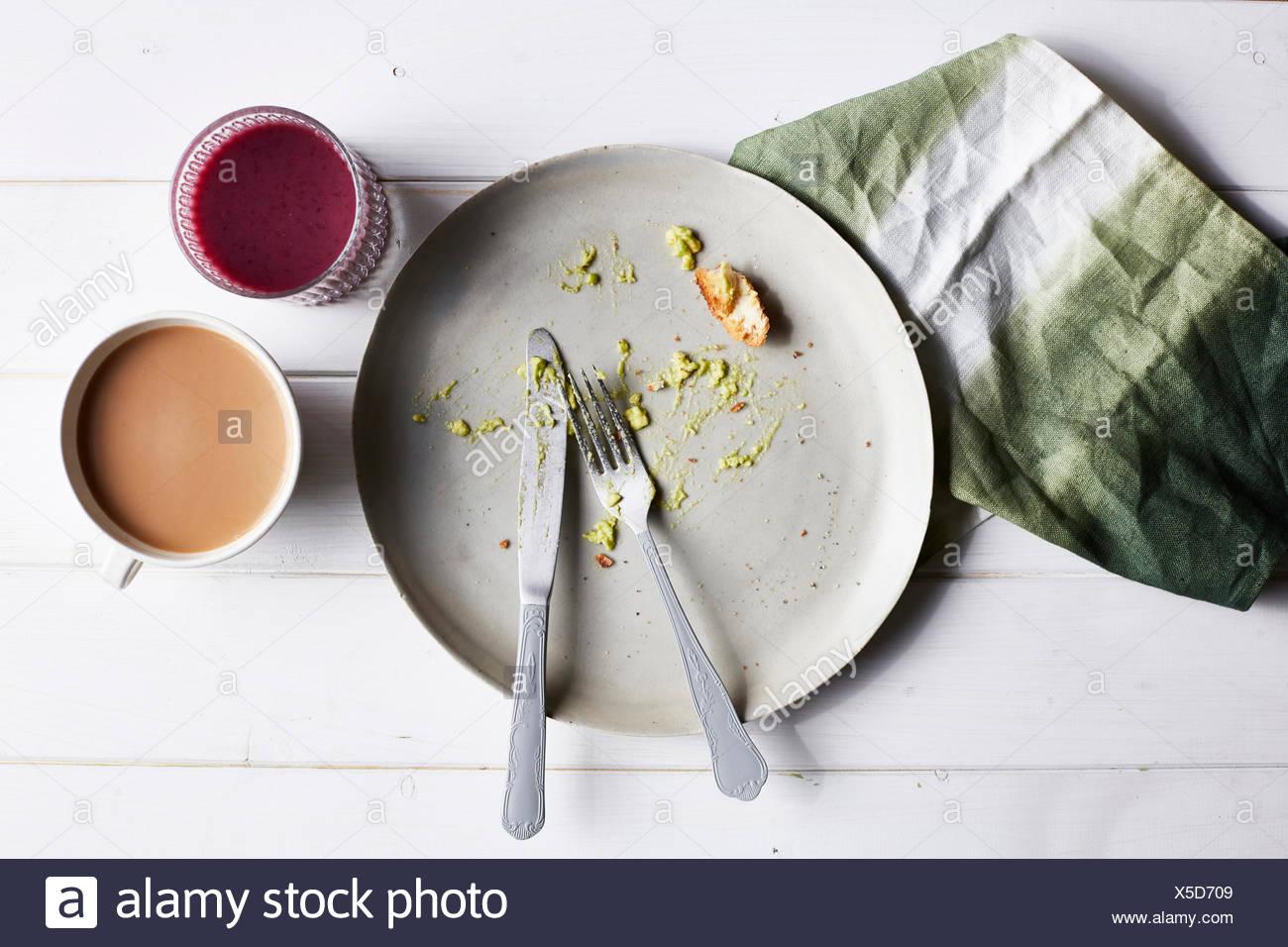 Comer comida de aguacate, vista superior Imagen De Stock