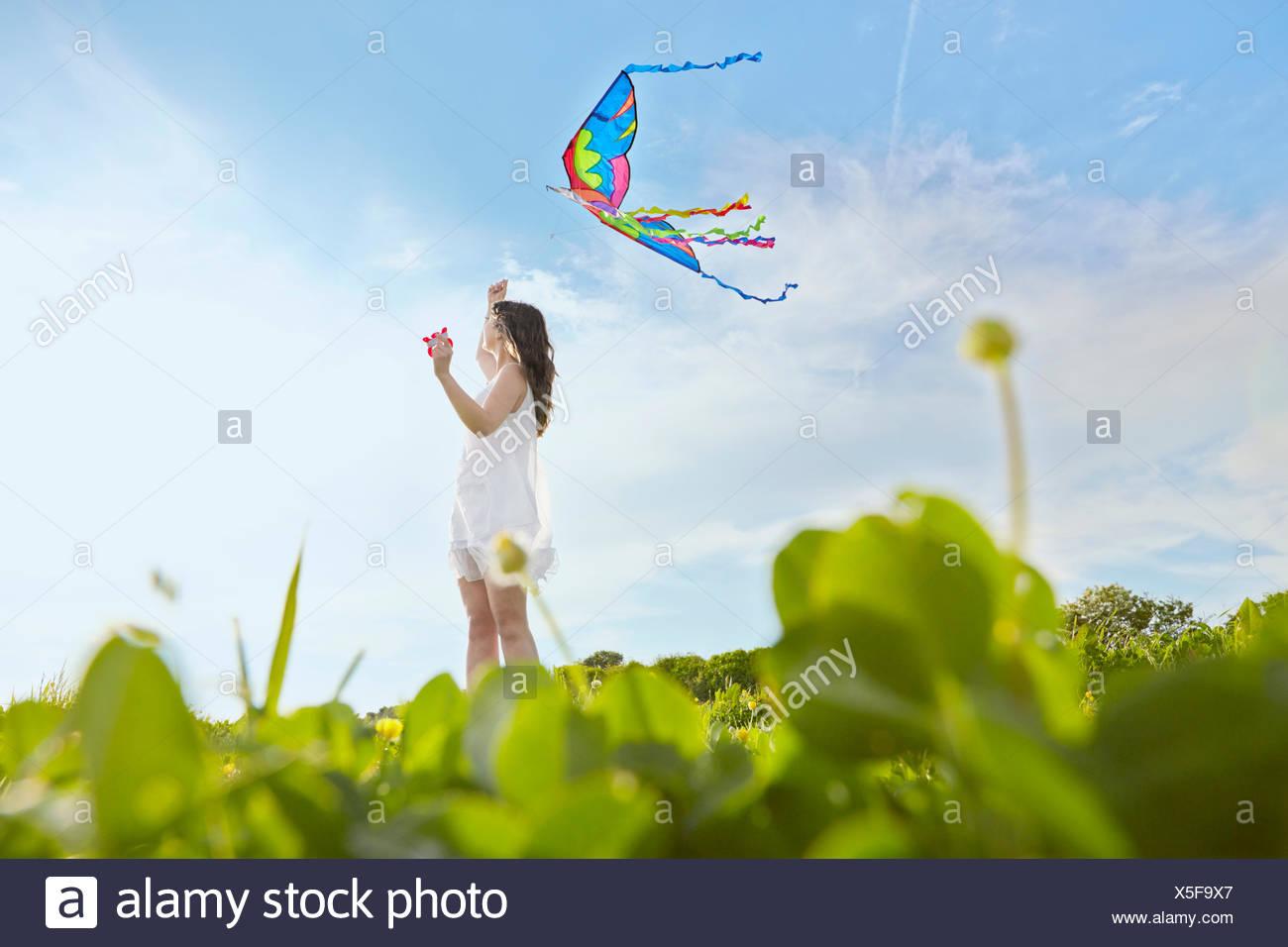 La superficie vista de joven volar una cometa en el campo Imagen De Stock