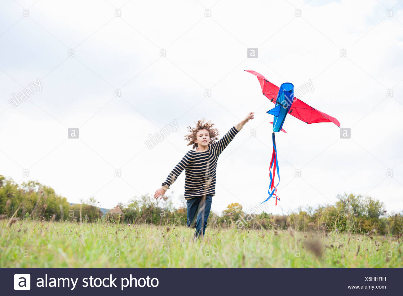 Volar chiringas Boy Imagen De Stock