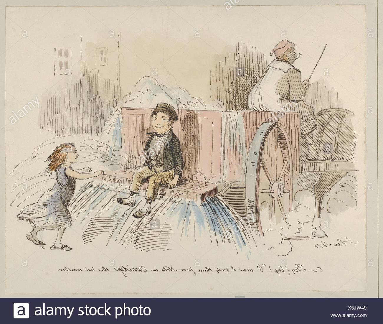 Boy (LOQ). O no me dan lástima pobre Nobs en carruajes este clima caliente. Artista: John Leech (Británicos, Londres Londres 1817-1864); Fecha: 1830-64; media: Imagen De Stock