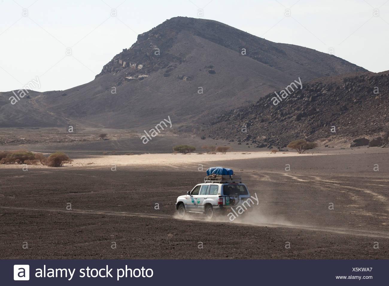Expedición, vehículo, barco, coche, automóvil, cross-country, vehículo, erupciones, área, África, Djibouti, Imagen De Stock