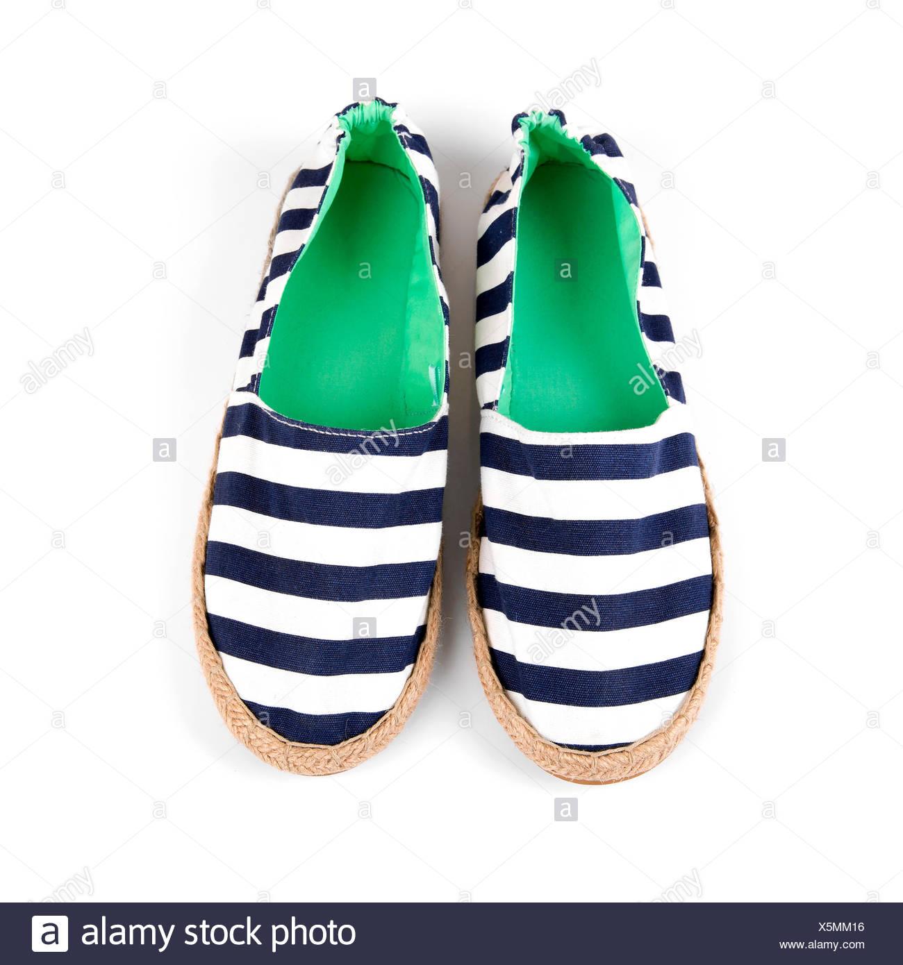 Marinero Estilo Aislado Blanco Zapatos Foto De Mujer Rayas En 7f6gYbyv