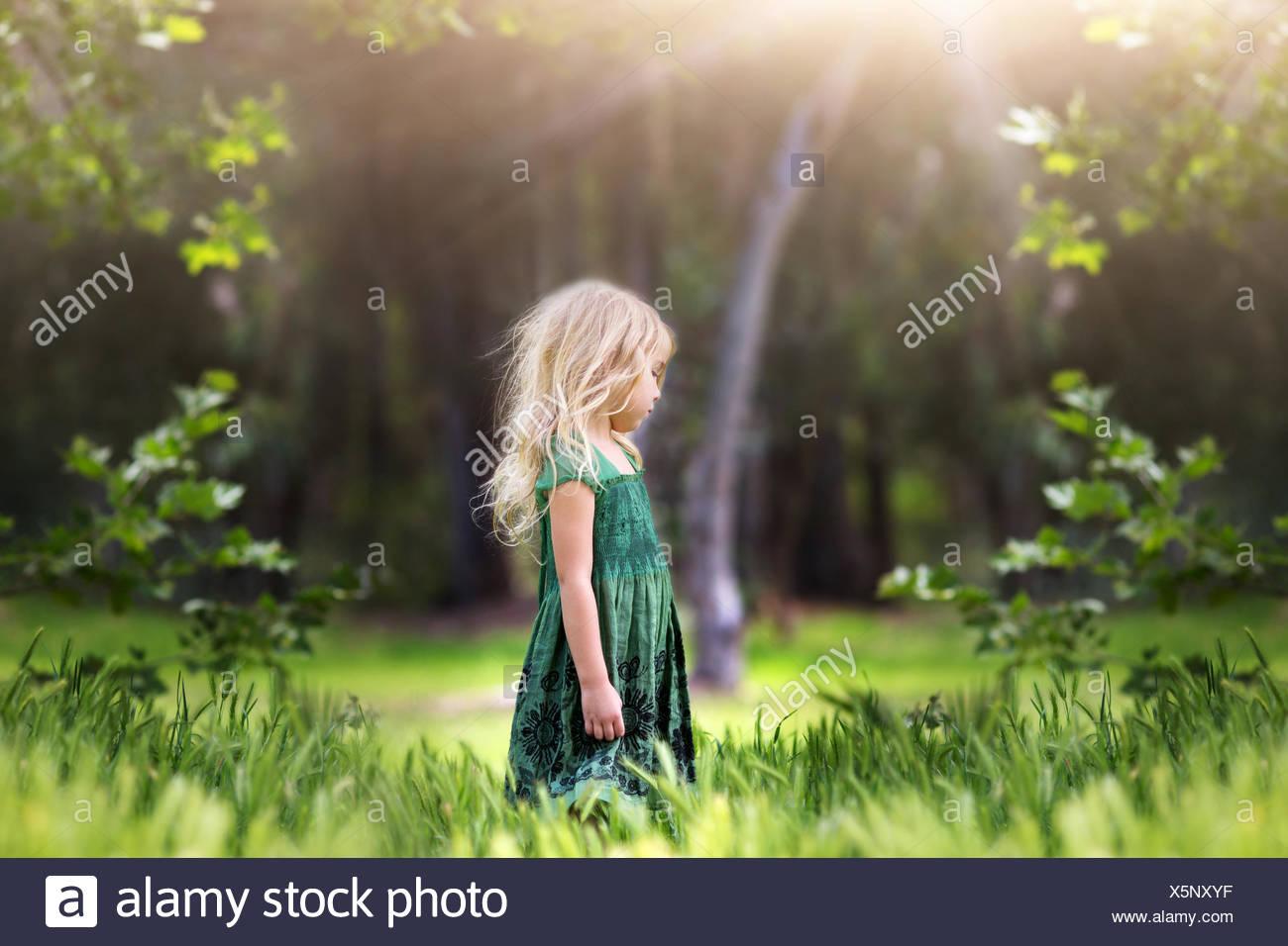 Chica (4-5) en la pradera permanente Imagen De Stock