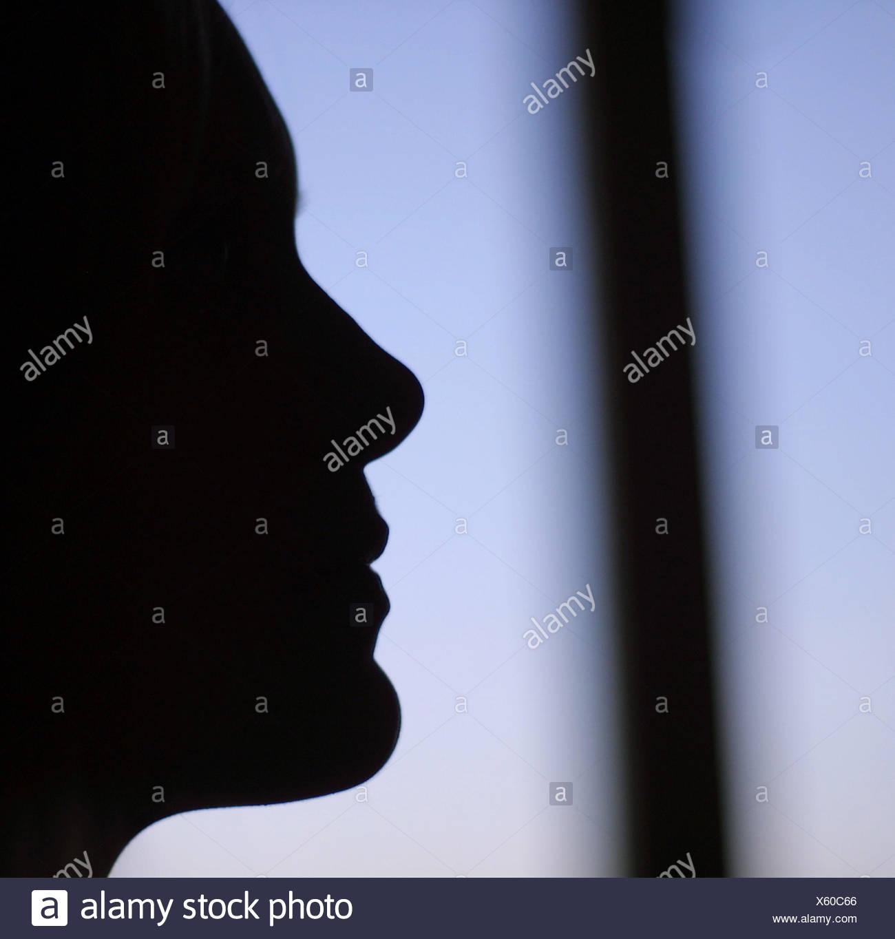 El contorno de la cara de mujer Imagen De Stock