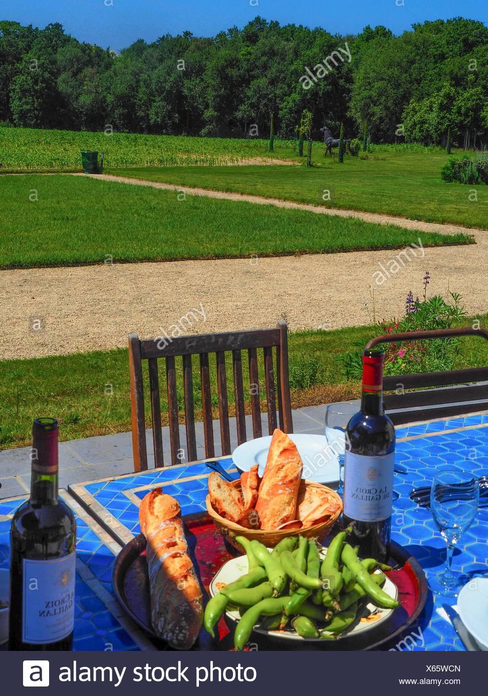 Almuerzo en las Cultures de Puygareau guestouse encantador, Sossay, Vienne, Poitou-Charentes, Francia Imagen De Stock