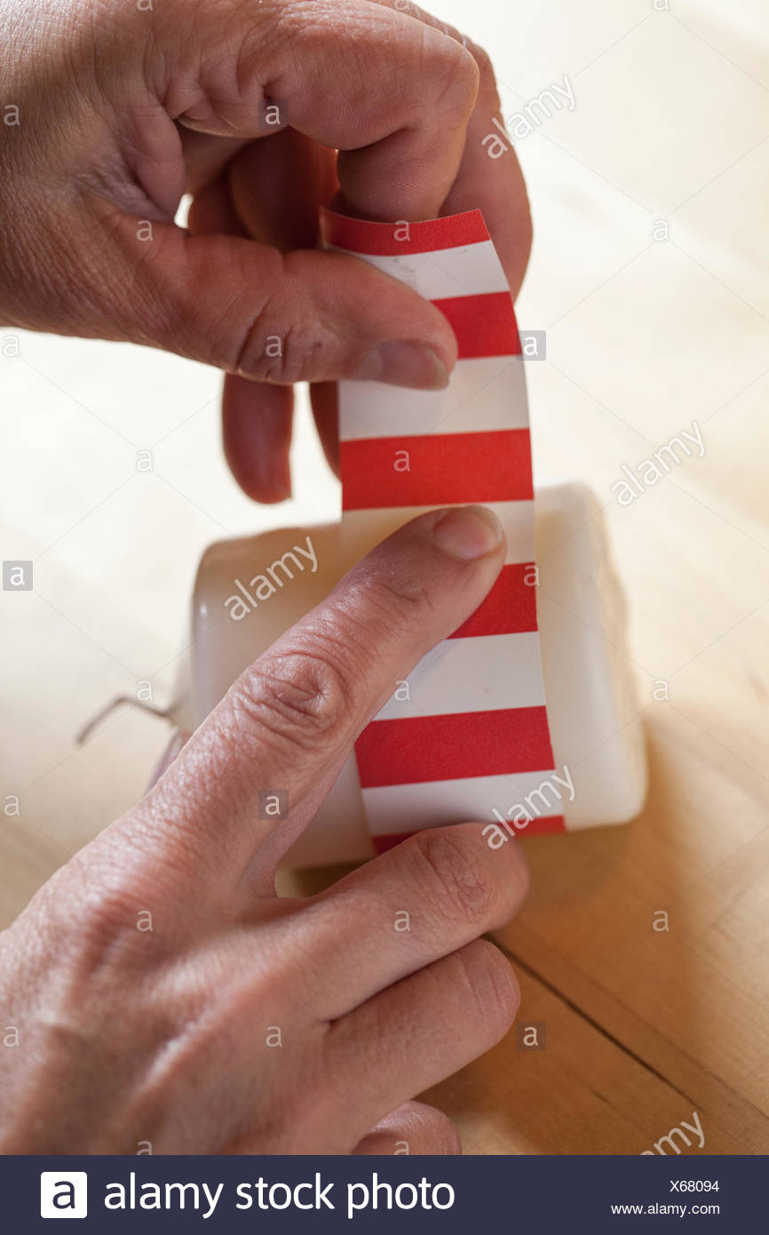 Material Vela Papel Tapiz Adhesivo Tijeras Procedimiento