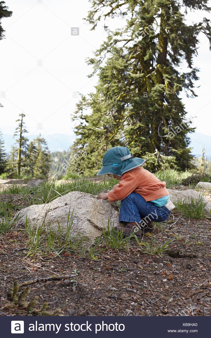 Niñito agacharse para mirar rock Imagen De Stock