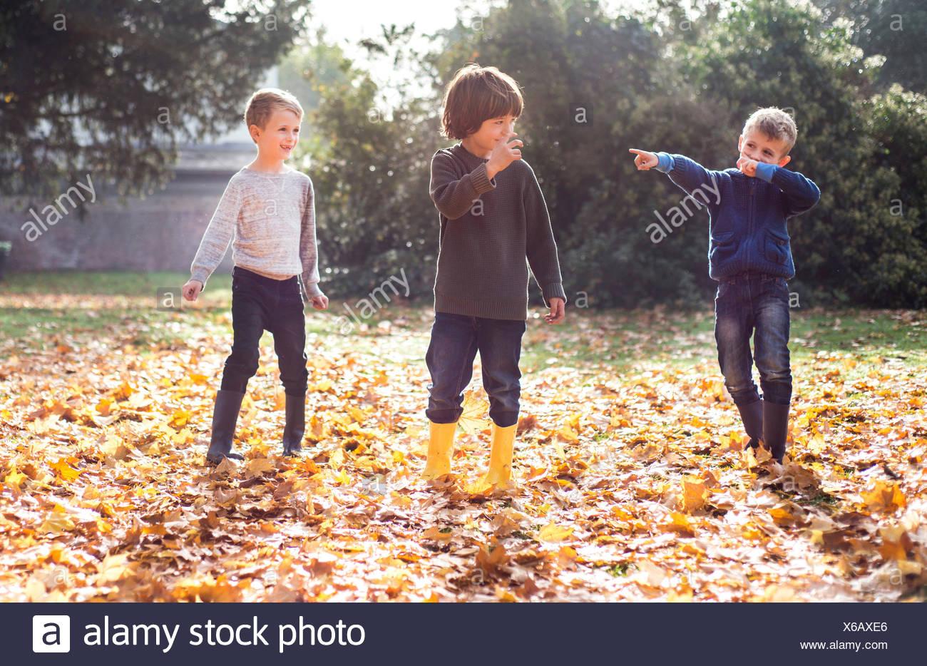 Tres muchachos jugando en el exterior, en las hojas de otoño Imagen De Stock