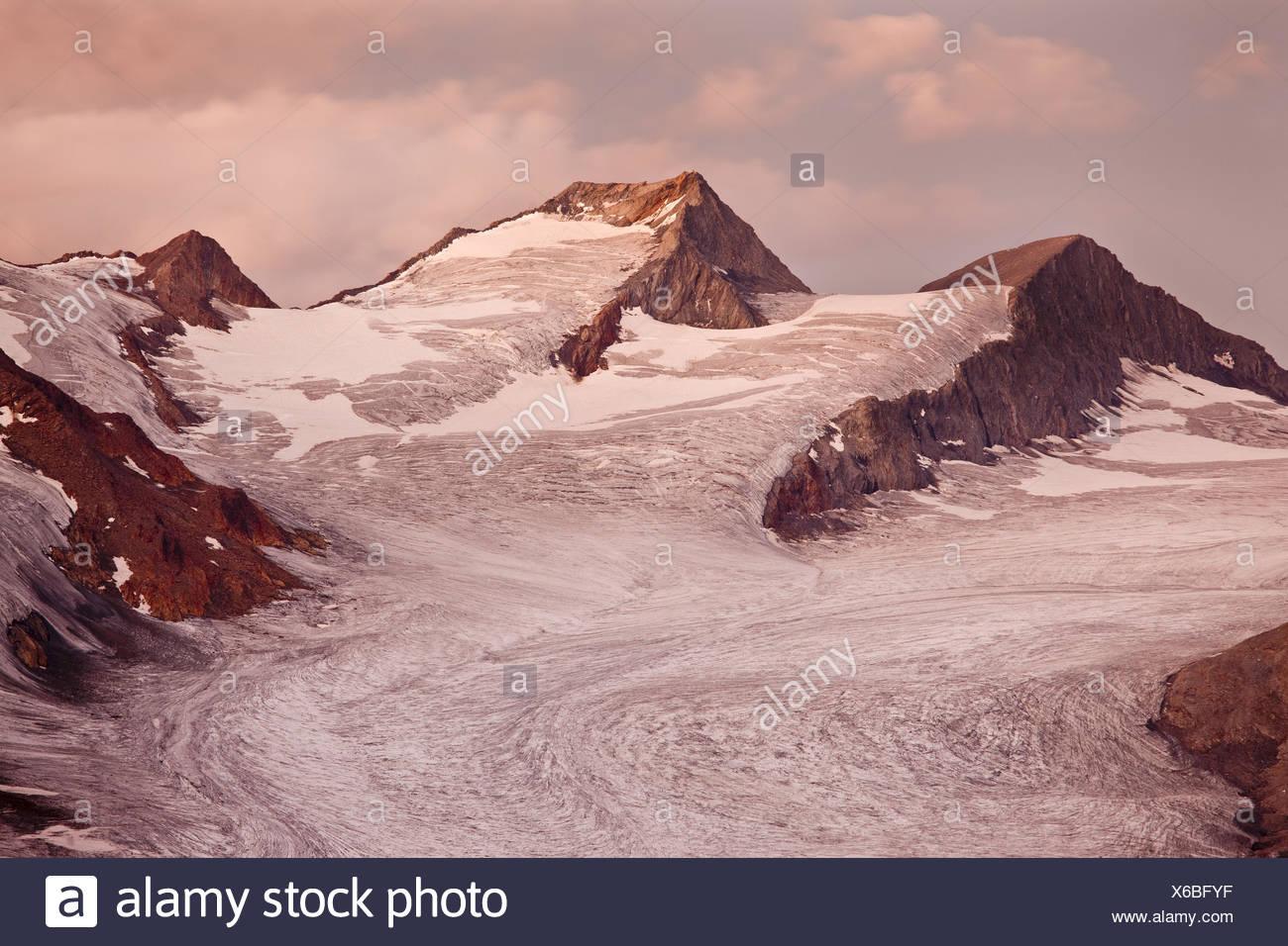 Austria, Tirol, Alpes Ötztaler trasero, oscuridad, glaciar, Imagen De Stock
