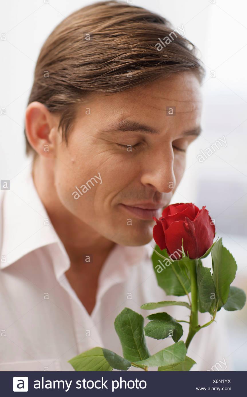 Guapo y el aroma de una rosa Imagen De Stock