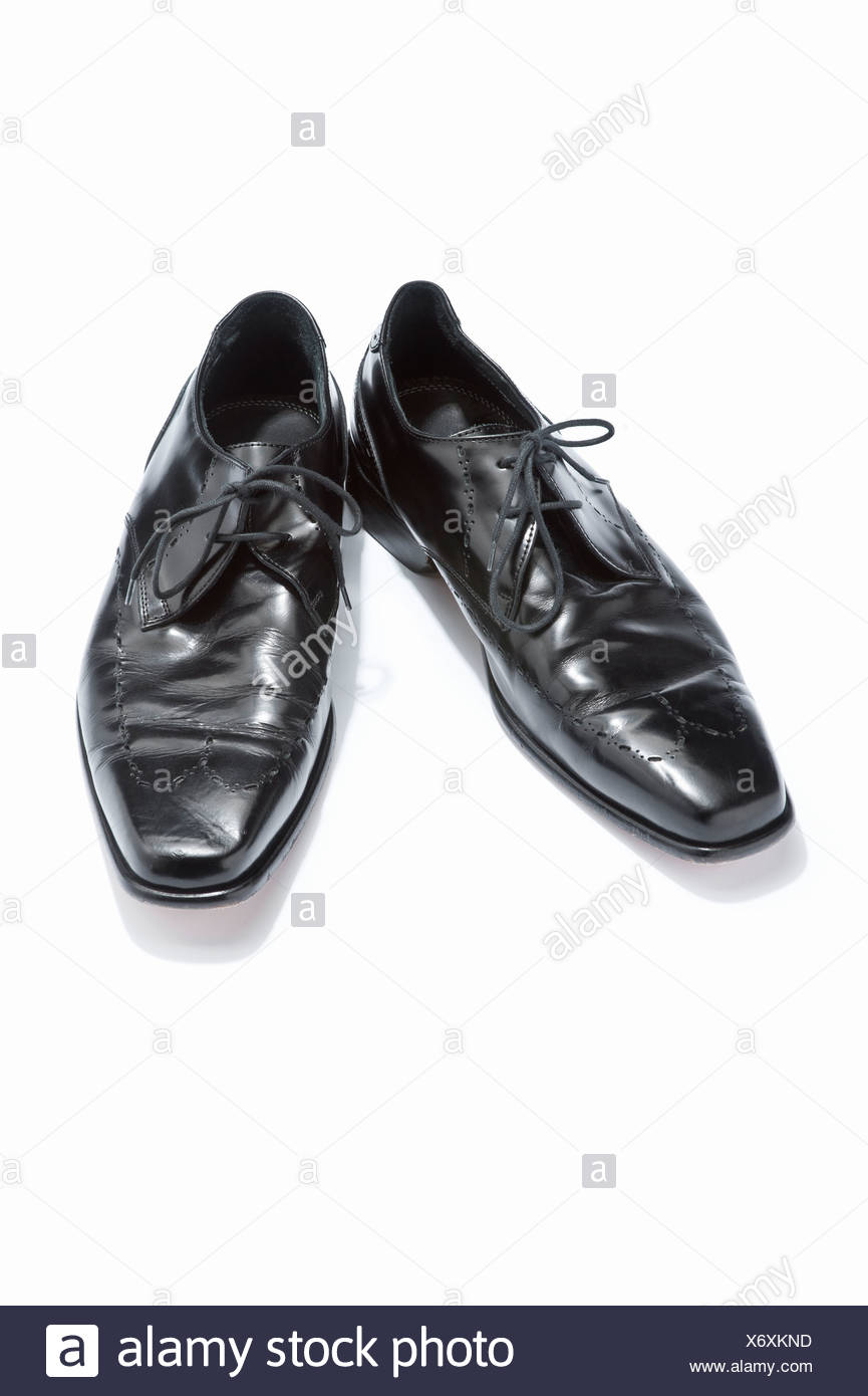 Un par de mens lace-up zapatos negros Imagen De Stock
