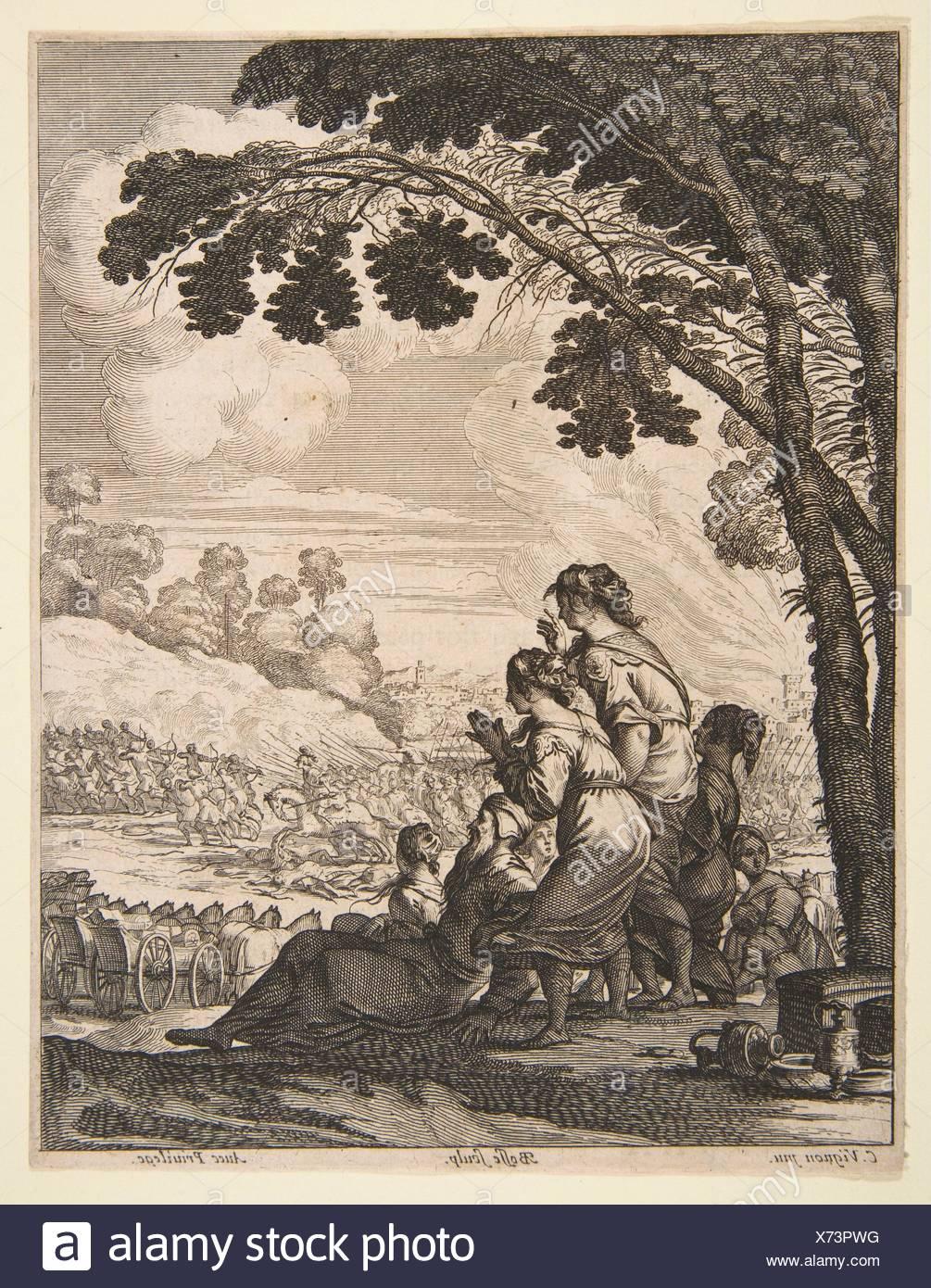 Ilustración de L'Ariane por Desmarets de Saint-Sorlin; Palamede a caballo se enfrenta a sus enemigos mientras busca Epicharis. Artista: Abraham Imagen De Stock