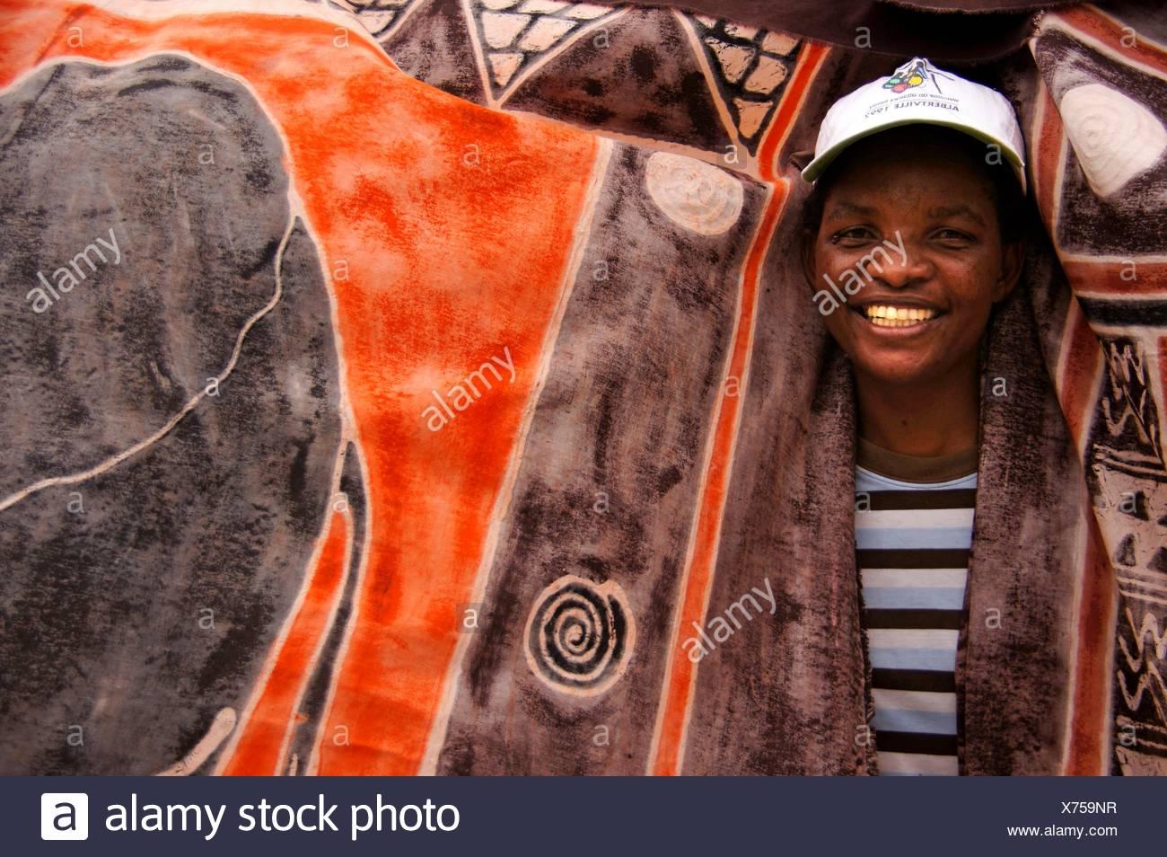 Con artesanías locales, motivs en Maun, Botswana Imagen De Stock