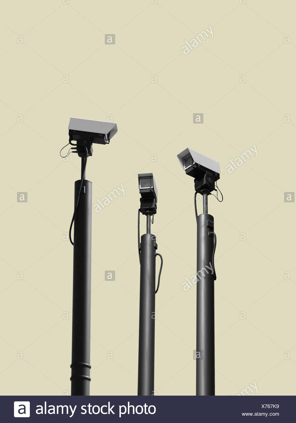 Cámaras CCTV viendo cada otros Imagen De Stock