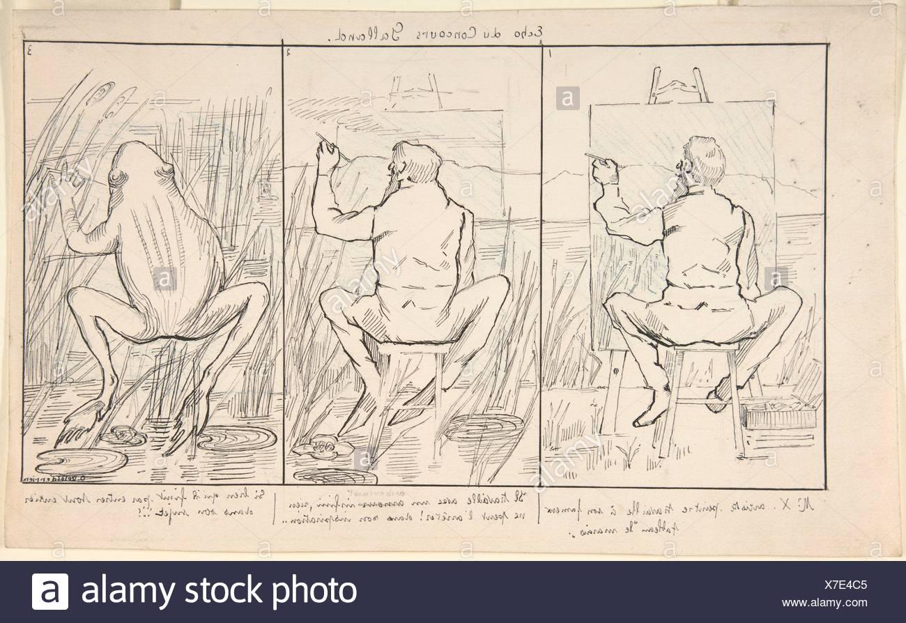 Eco del Concours Galland (Echo du Concours Galland). Artista: O. Deleiderrier (Suiza (?), siglo xix); Fecha: del siglo XIX; mediana: Pluma y negro Foto de stock
