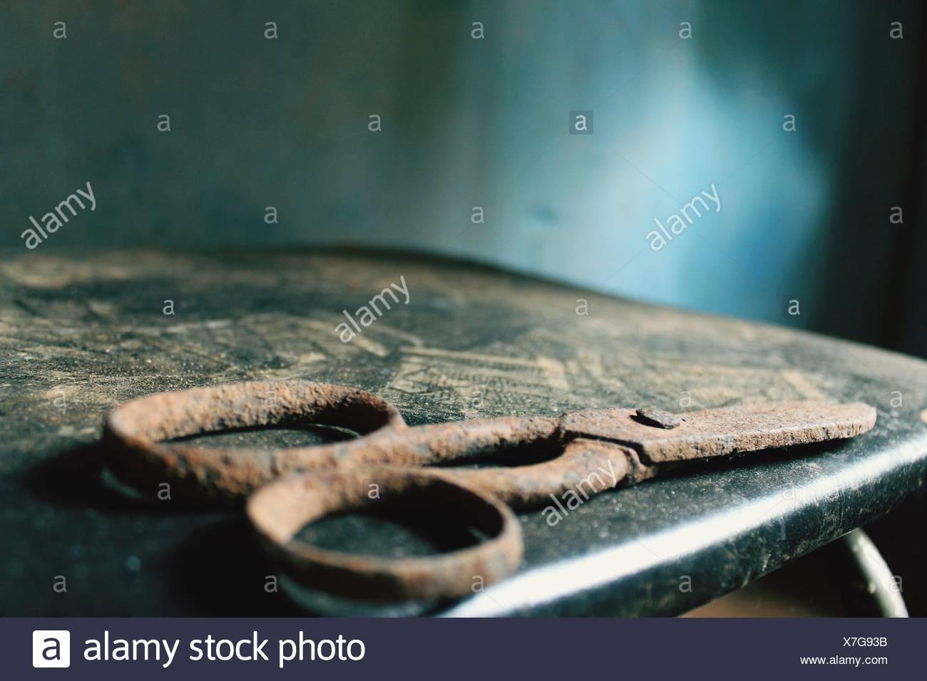 Vista de Rusty tijeras Imagen De Stock