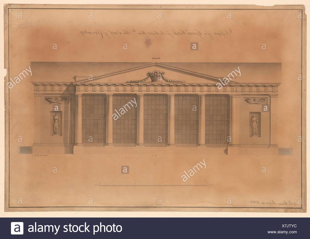 Diseño de un invernadero para el Honorable Earl de Coventry, Corte Croome, Worcestershire (Elevation). Artista: Robert Adam (British, Kirkcaldy, Imagen De Stock
