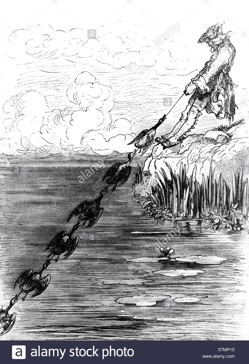 Münchhausen, Barón Karl Friedrich Hieronymus, Freiherr von, 11.5.1720 - 22.2.1797, escena de sus aventuras: Perro de pato, grabado en madera siglo 19, Foto de stock