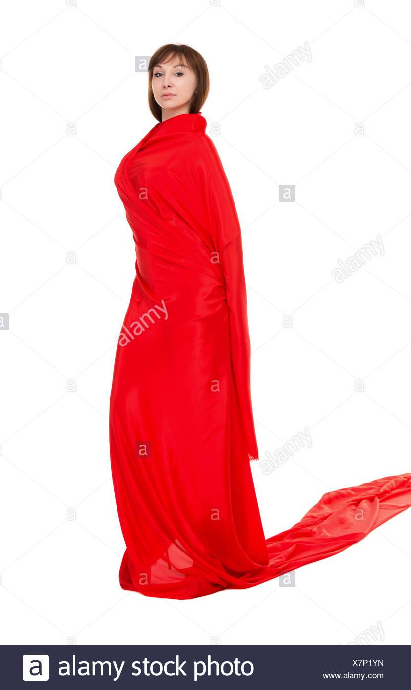 Bella mujer en rojo vestido largo Foto de stock