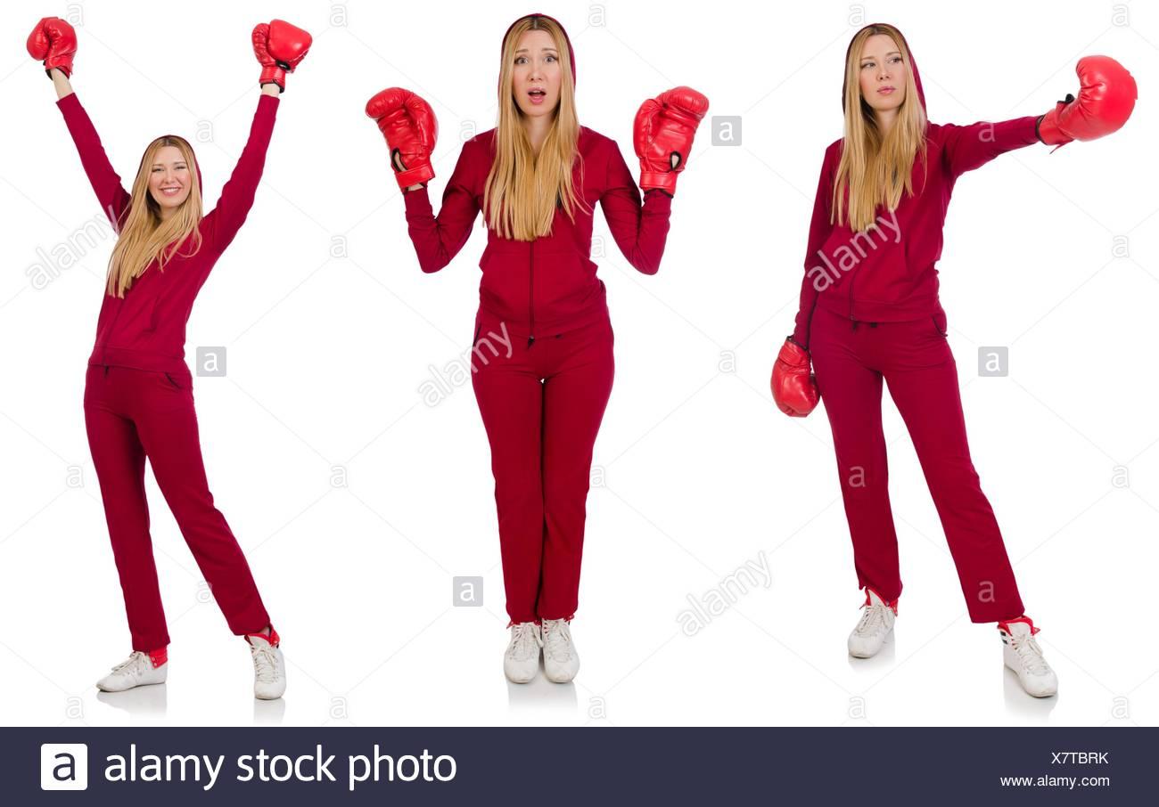 Mujer boxer aislado en el blanco Imagen De Stock