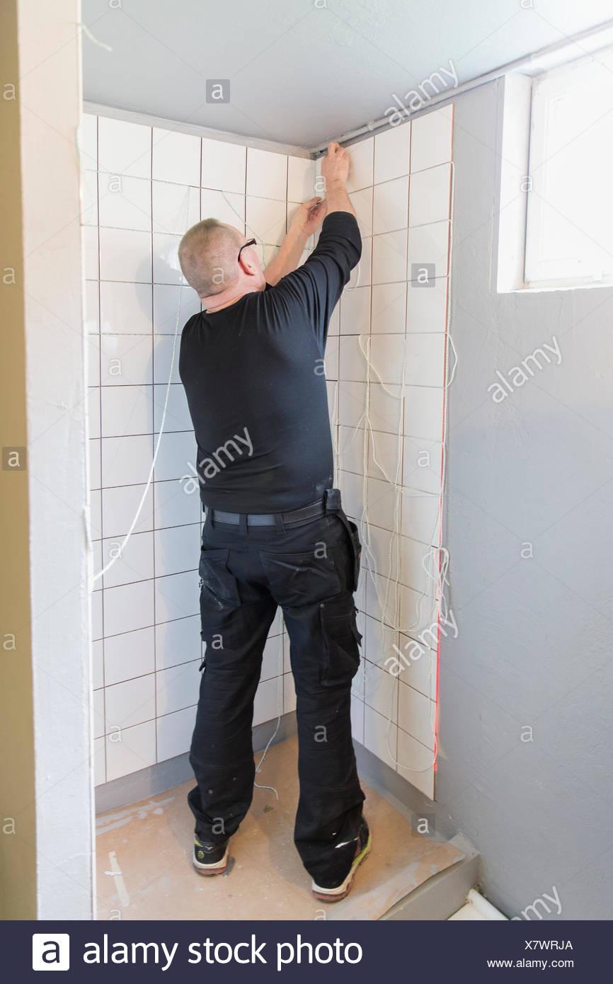 Suecia, hombre de pared de mosaico Foto de stock