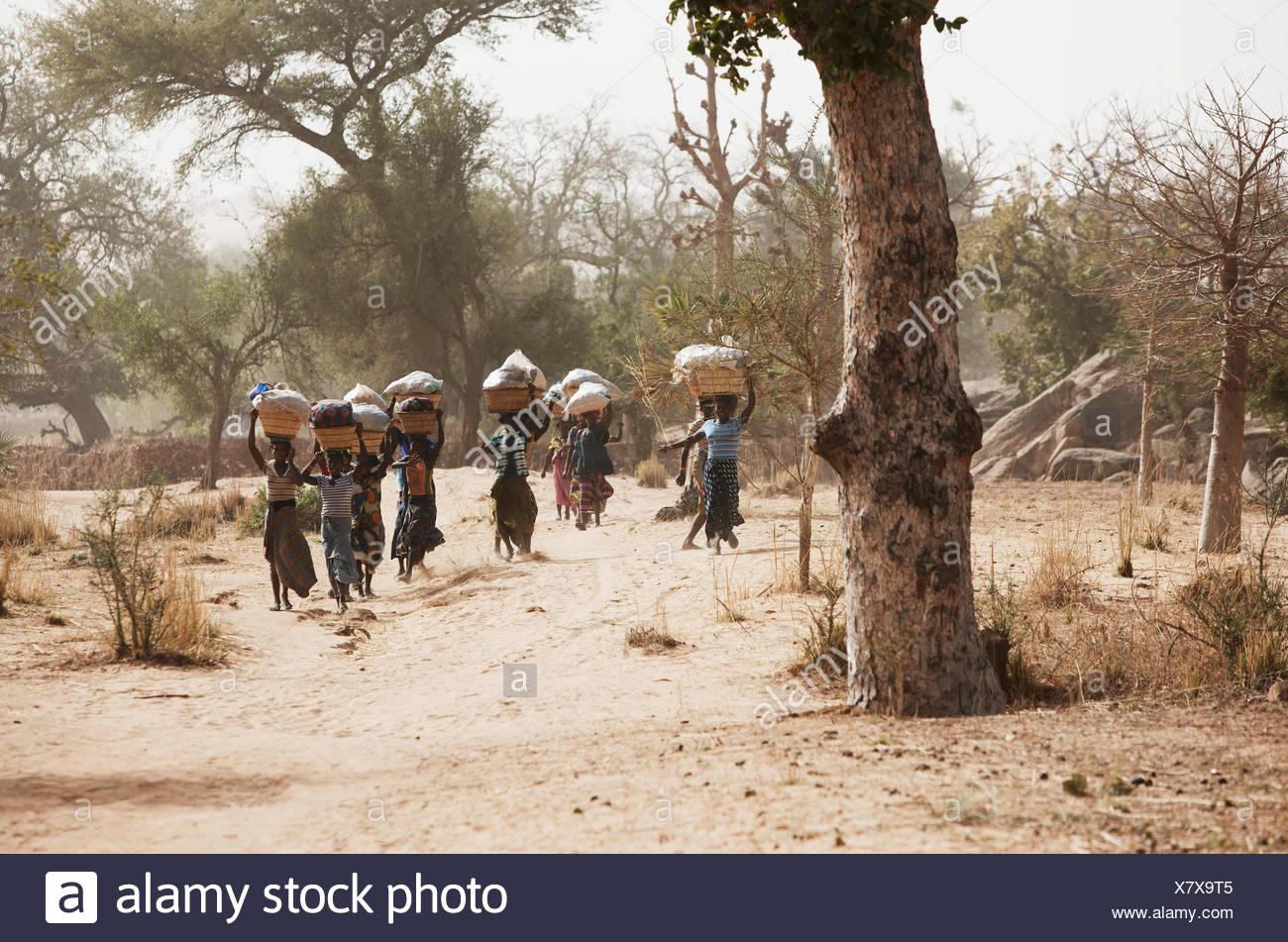 Las mujeres en el camino hacia un mercado de tierras, Dogon, región de Mopti, Malí Foto de stock