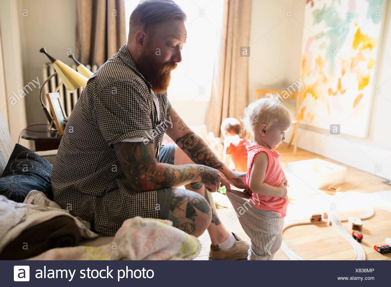 Comprobación de Padre hija Imagen De Stock