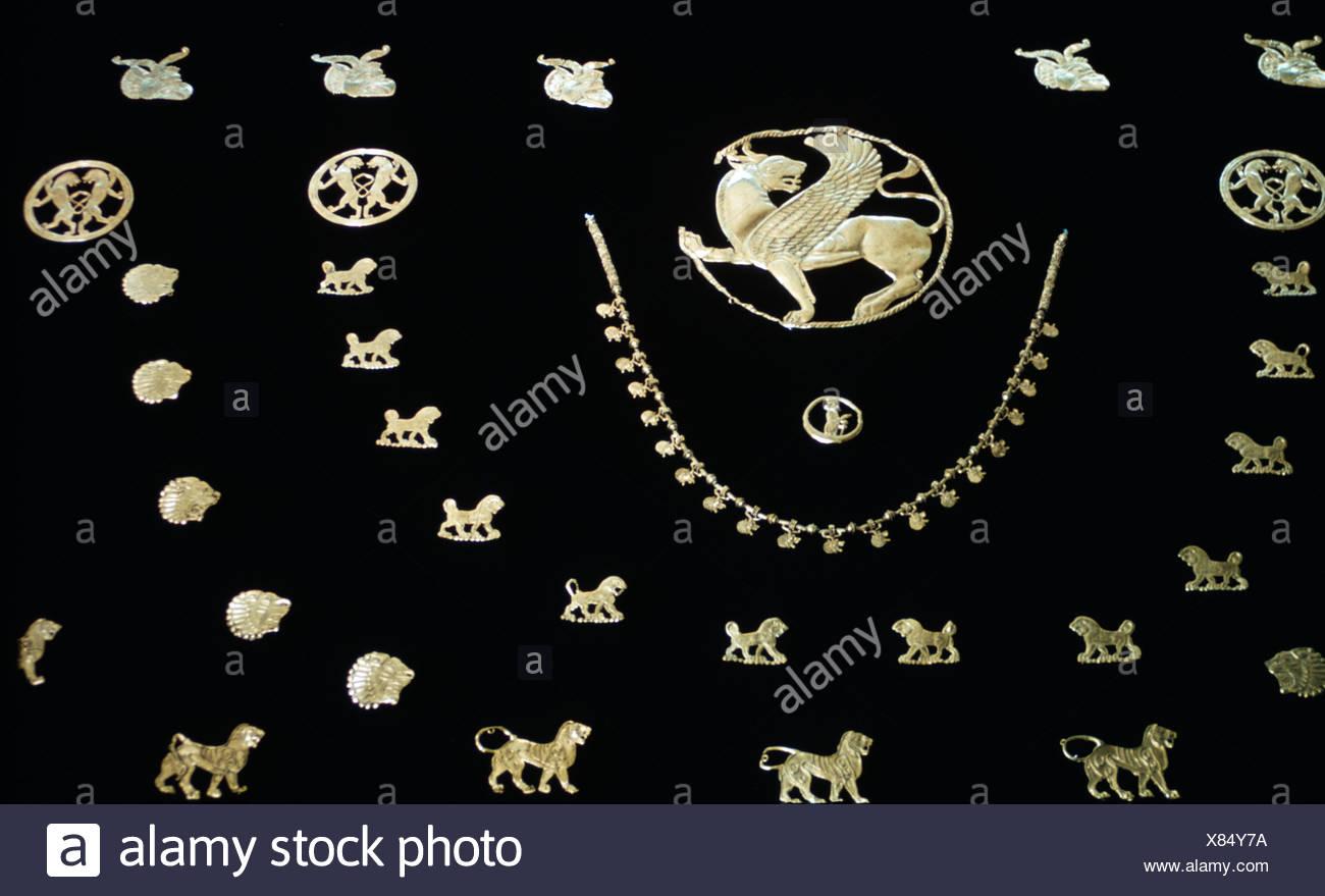 Collar, adornos de oro del periodo Aqueménida Antiques-Jewelry persa Foto de stock