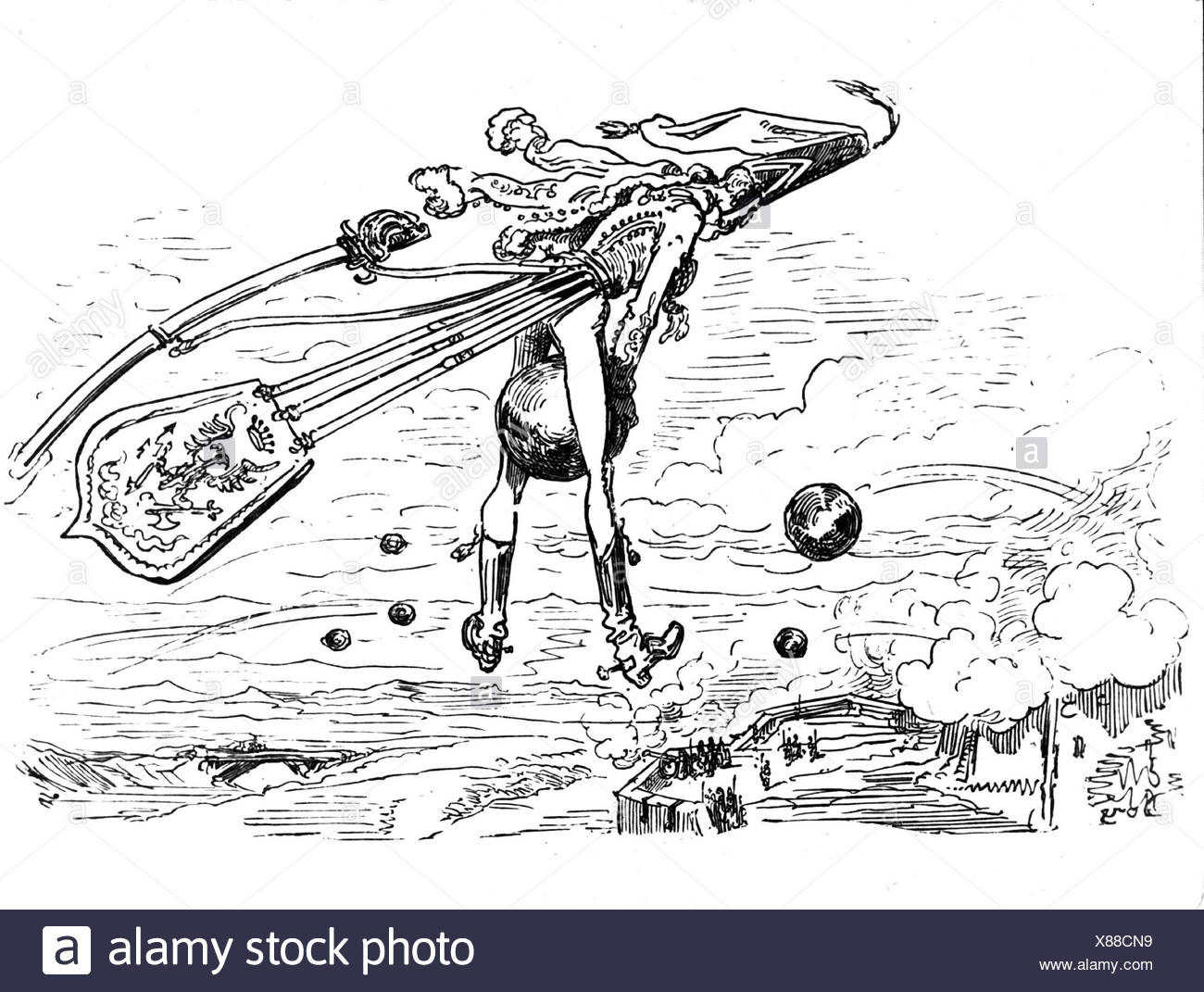 Münchhausen, Barón Karl Friedrich Hieronymus, Freiherr von, 11.5.1720 - 22.2.1797, escena de sus aventuras: Volar sobre canonball, grabado en madera siglo 19, Foto de stock