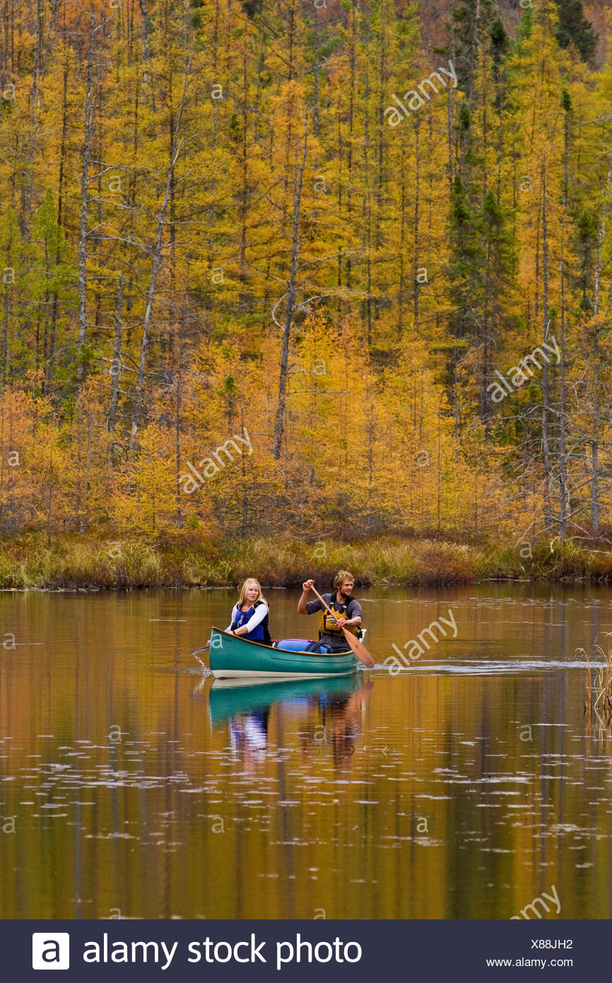Pareja joven remar canoa en quietas aguas de pequeña cala en el extremo noroeste del parque Algonquin, Ontario, Canadá. Imagen De Stock