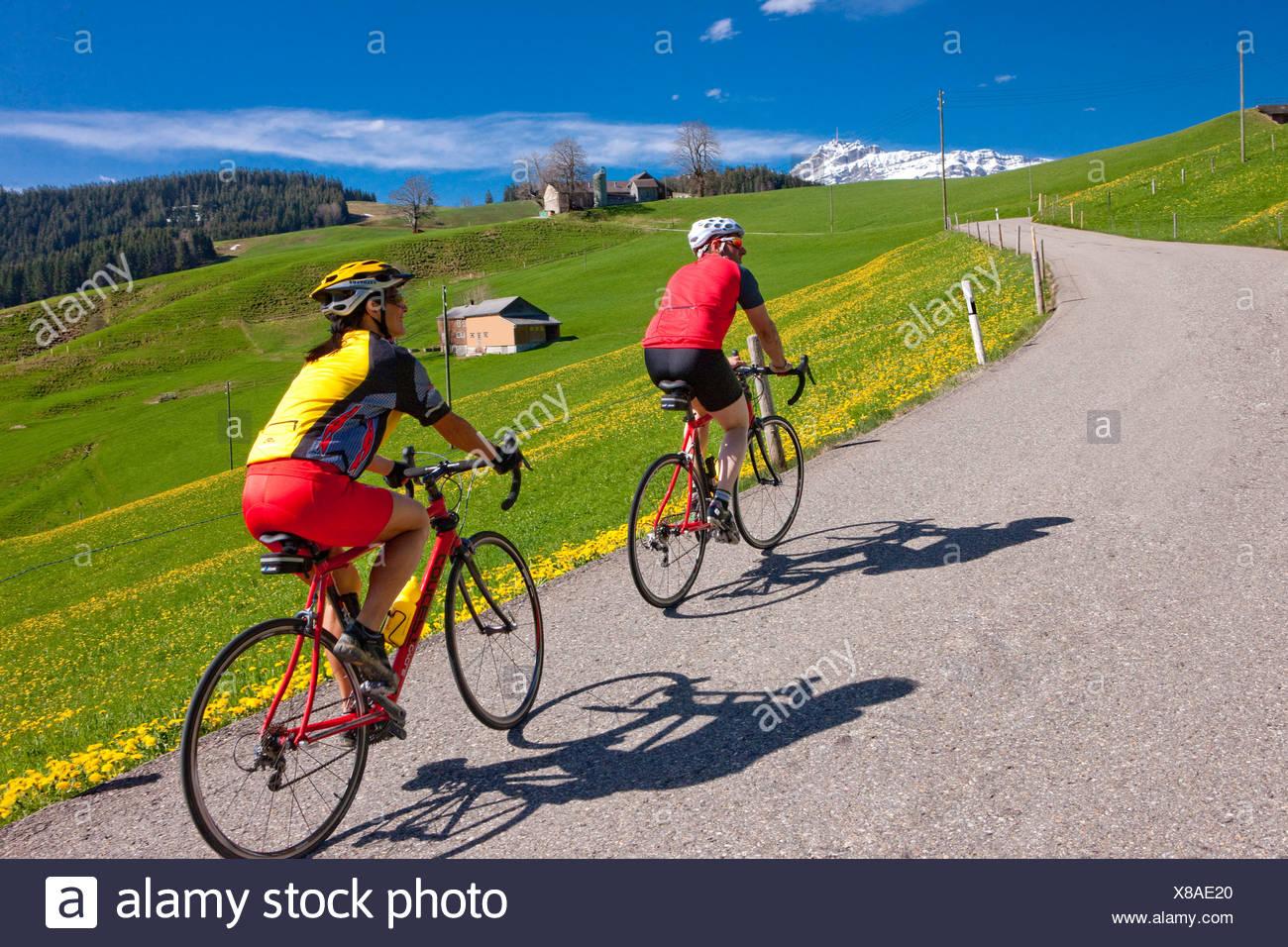 Ciclista, Biker, Toggenburg, muelle, bicicleta, bicicletas, bicicleta, montar en bicicleta, cantón, SG, St. Gallen, Churfirsten, racing bicyc Foto de stock