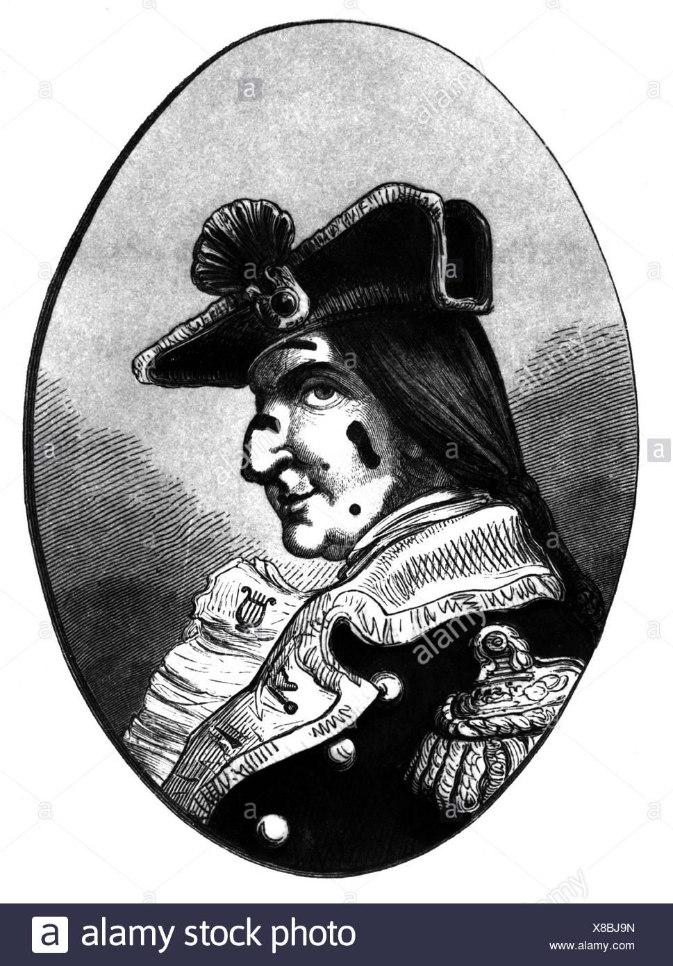 Münchhausen, Barón Karl Friedrich Hieronymus, Freiherr von, 11.5.1720 - 22.2.1797, retrato, grabado en madera,Munchhausen, Muenchhausen, , Foto de stock