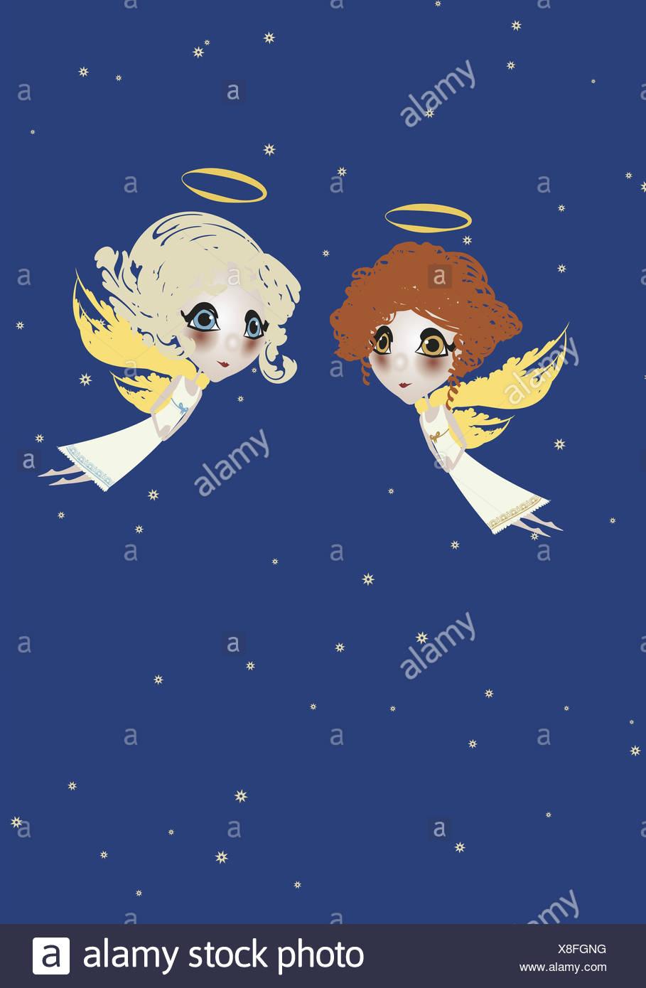 La Ilustración El Cielo El ángel Dos Rubio Pelirrojo Gráficos