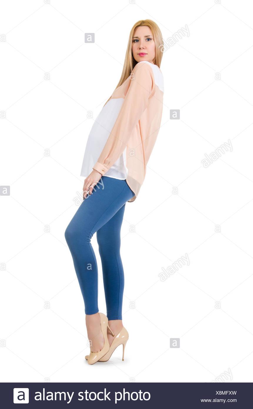 4ad7ed0f4 Hermosa mujer embarazada aislado en blanco Foto   Imagen De Stock ...