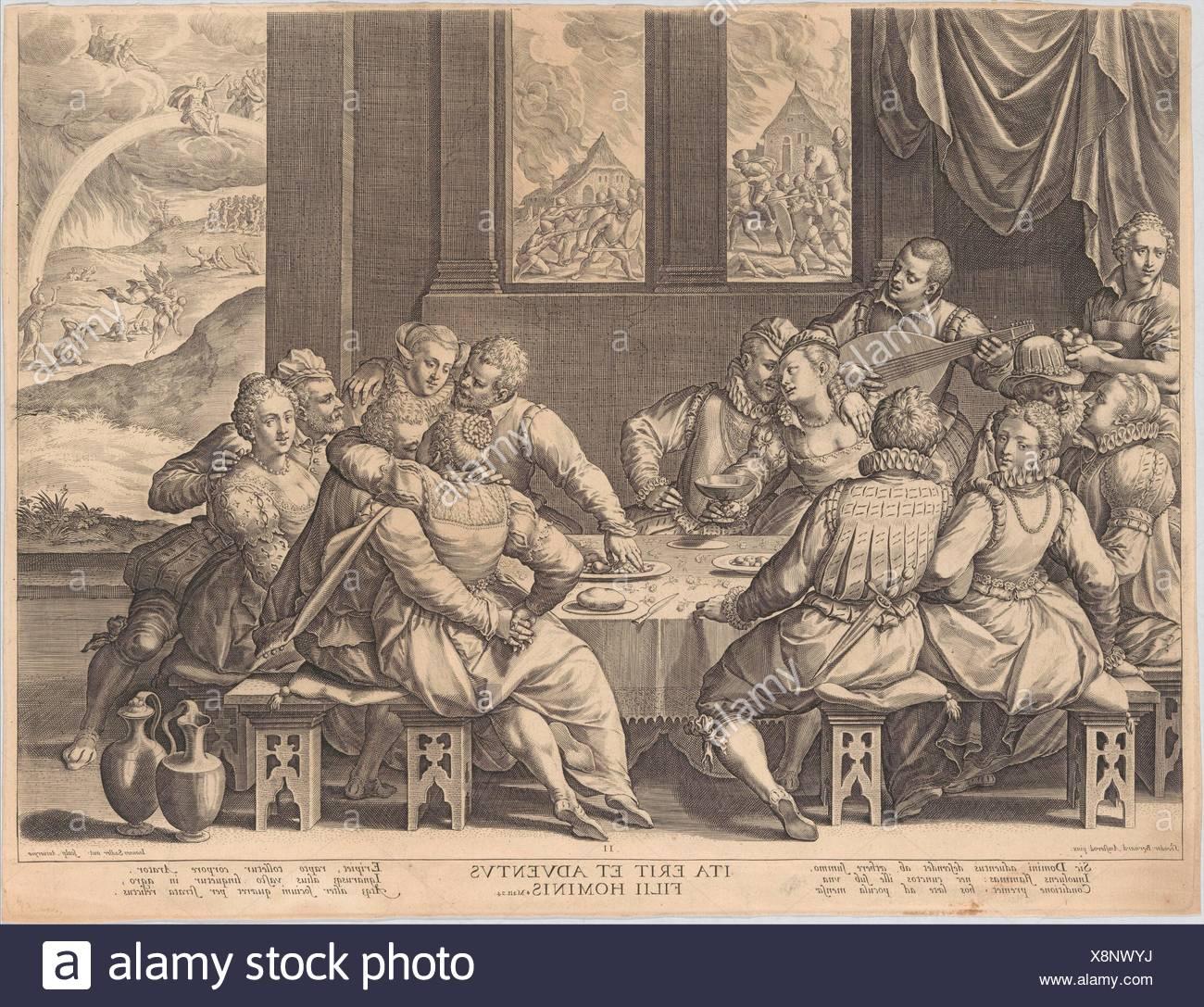 La humanidad espera el juicio final. Artista: Johann Netherlandish Sadeler  I (Bruselas, 1550-1600/1601 Venecia); Artista: Después Dirck Barendsz.