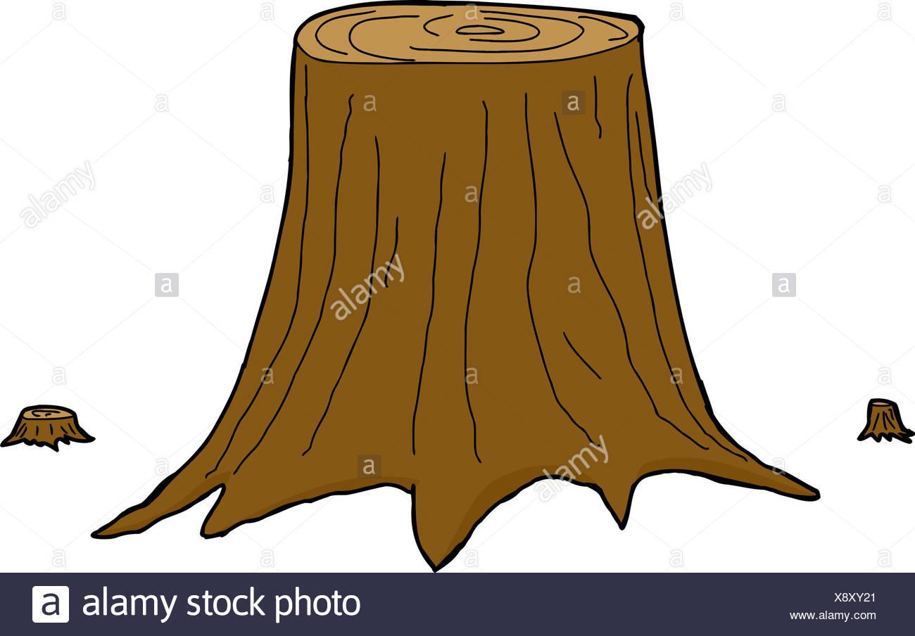 Tres Aislados De Cortar Troncos De árbol De Dibujos