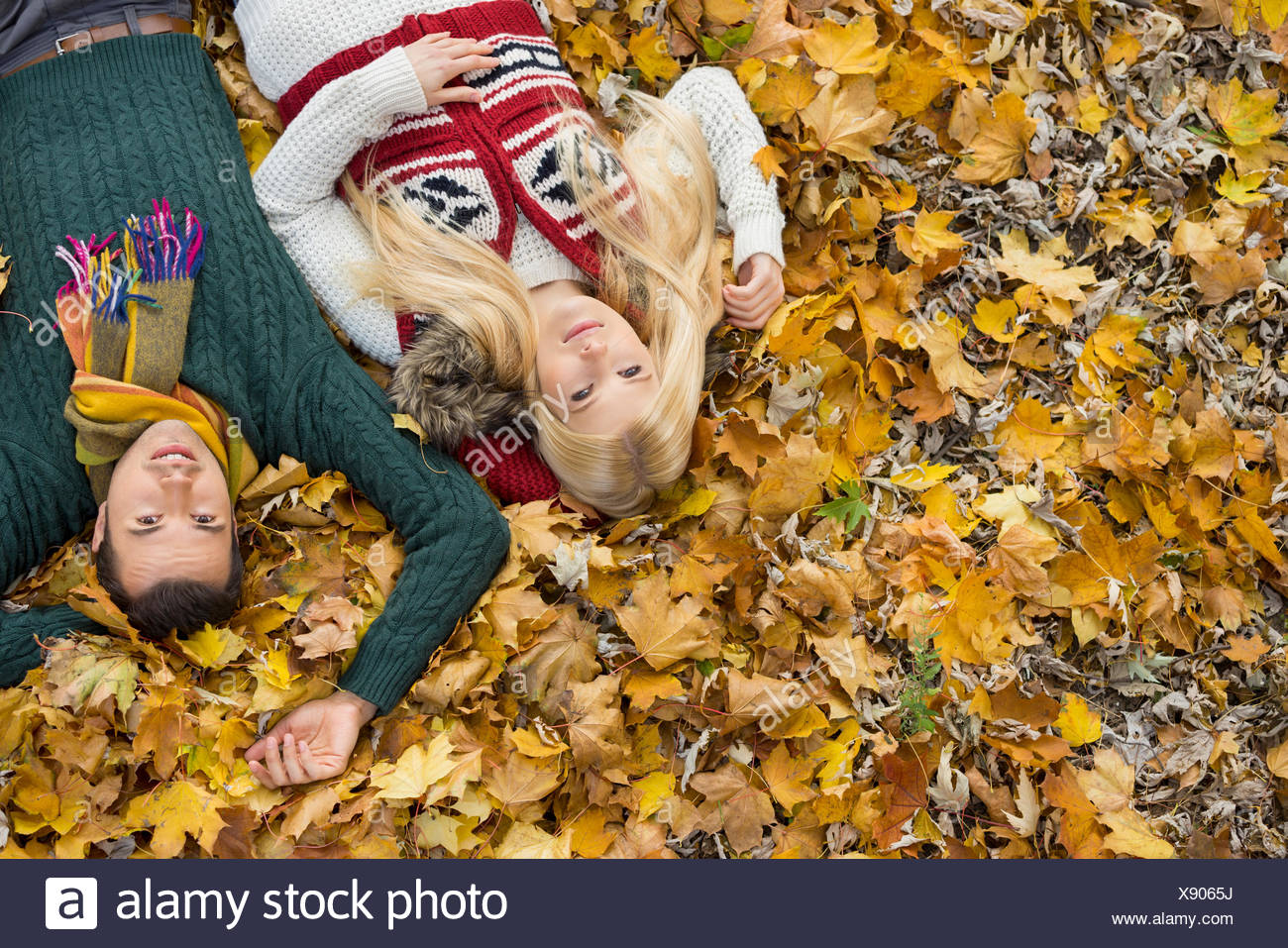 Ángulo alto retrato de pareja joven acostado en hojas de otoño en el parque Imagen De Stock