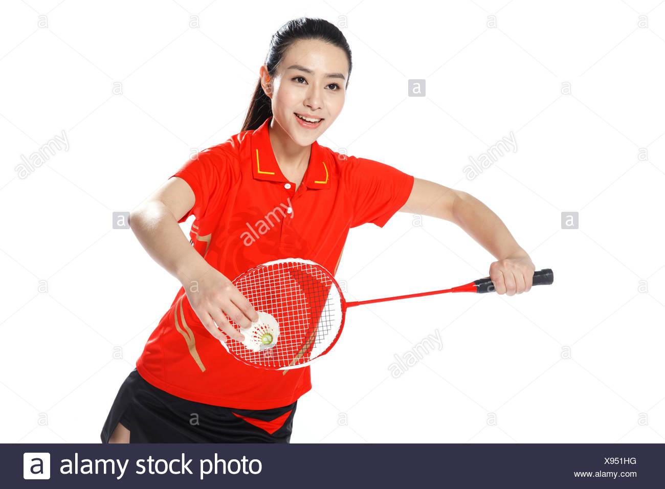 Los atletas jugar bádminton Imagen De Stock