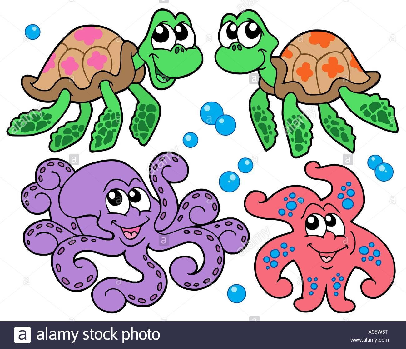 Color Color De Dibujos Animados Coleccion Animal Animales Acuaticos