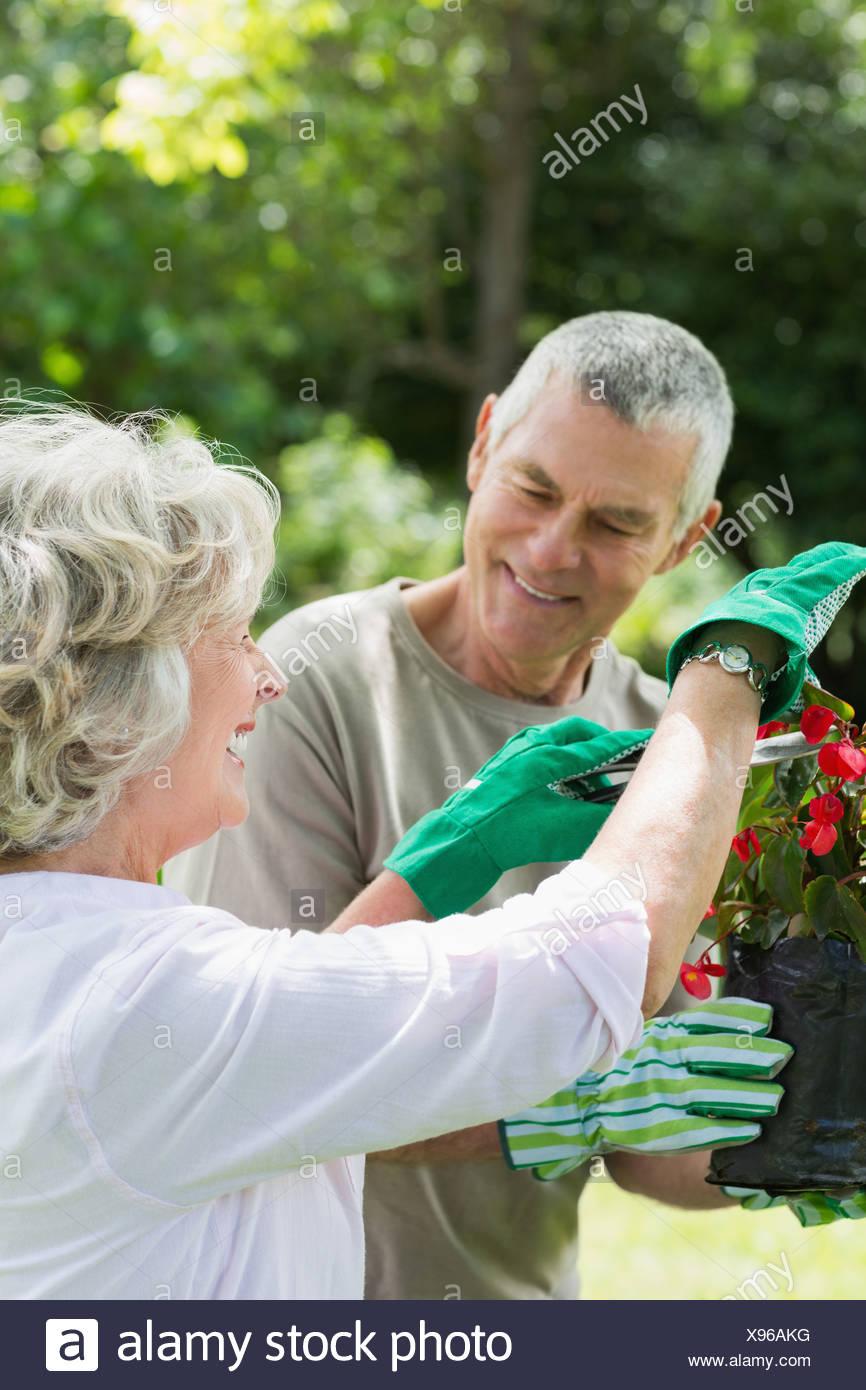 Pareja metida en jardinería Foto de stock