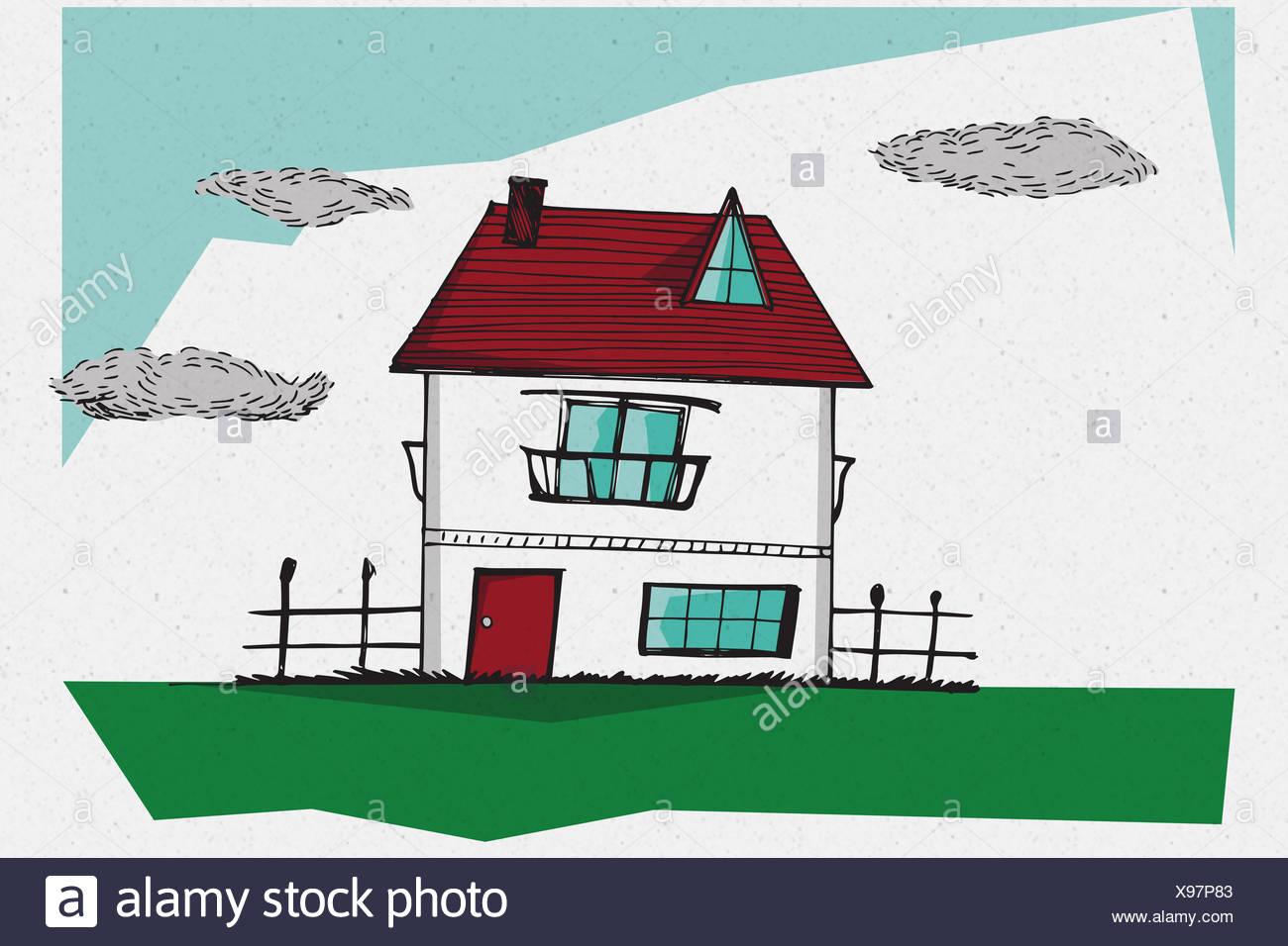 Imagen compuesta de Casa dibujada a mano Imagen De Stock