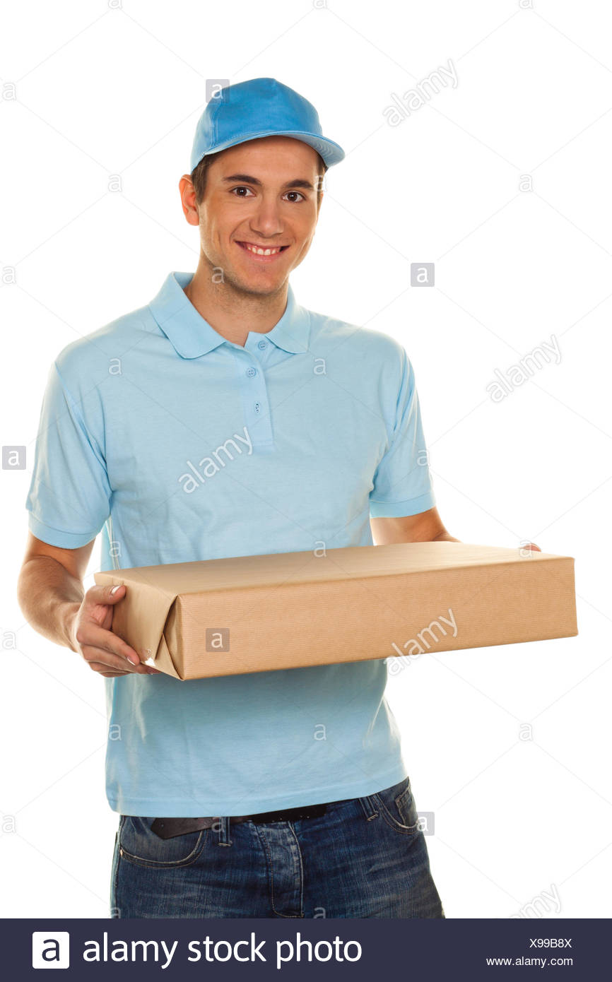 Messenger de messenger service entrega parcela Foto de stock