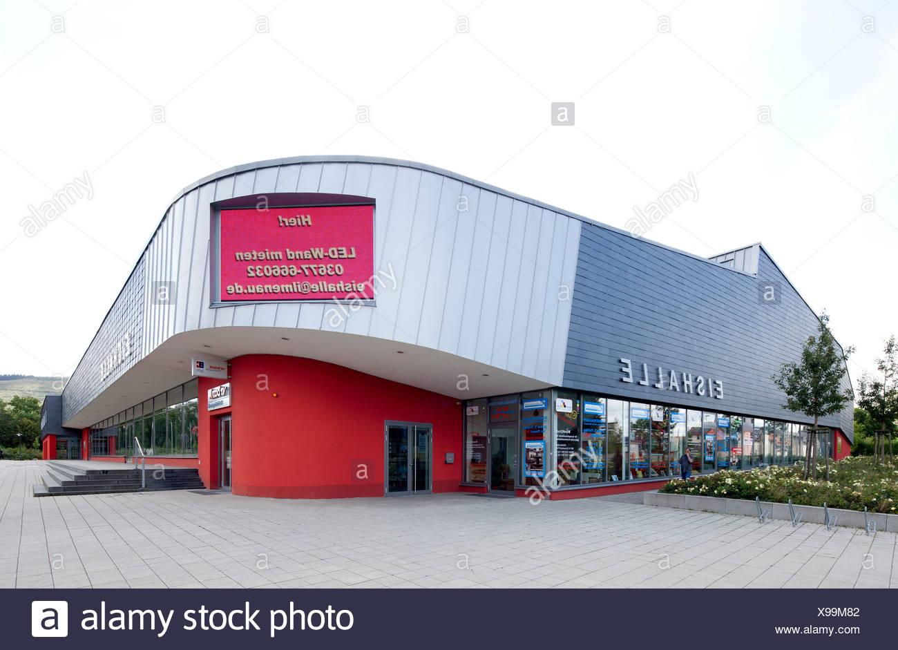 Eishalle Ilmenau, una pista de patinaje sobre hielo y de entretenimiento, Ilmenau, Turingia, Alemania, Europa, PublicGround Imagen De Stock