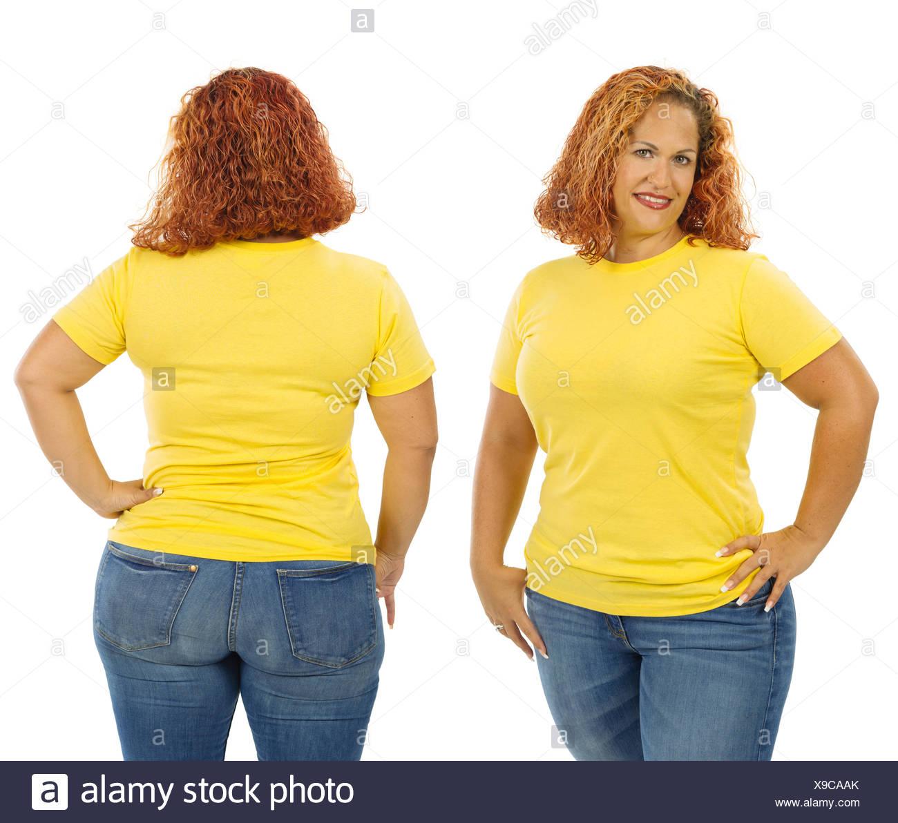 Mujer Camiseta Vistiendo Y La Amarilla Foto Delante Blanco En Detrás HeEW9ID2Y
