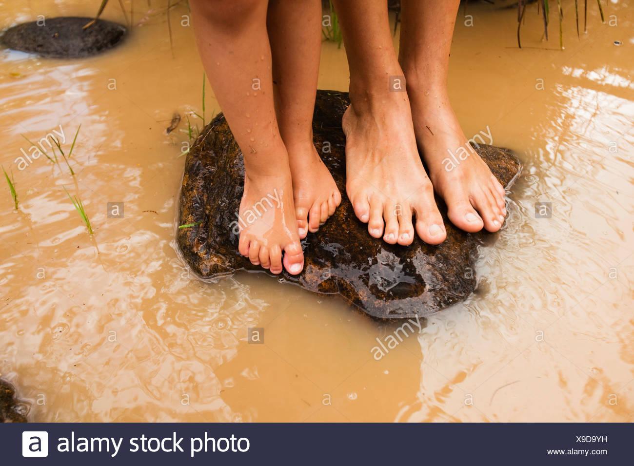 Los pies descalzos de pie sobre una roca en aguas turbias en currumbin creek; currumbin, Gold Coast, Queensland, Australia Foto de stock